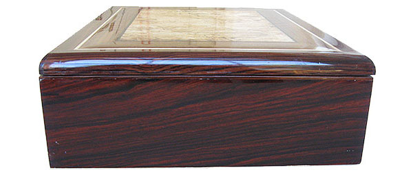 Cocobolo box side - Handcrafted large wood men's valet box, keepsake box, document box