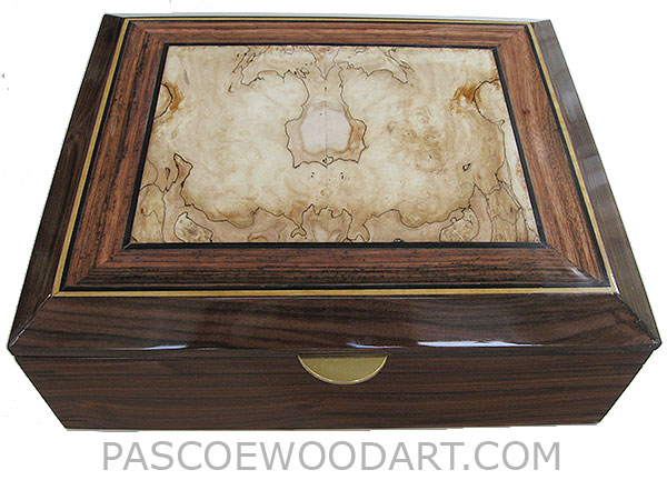 Handcrafted large wood box - Decorative wood large men's valet box, keepsake box or document box made of Santos rosewood with blackline spalted maple framed in Macassar ebony top