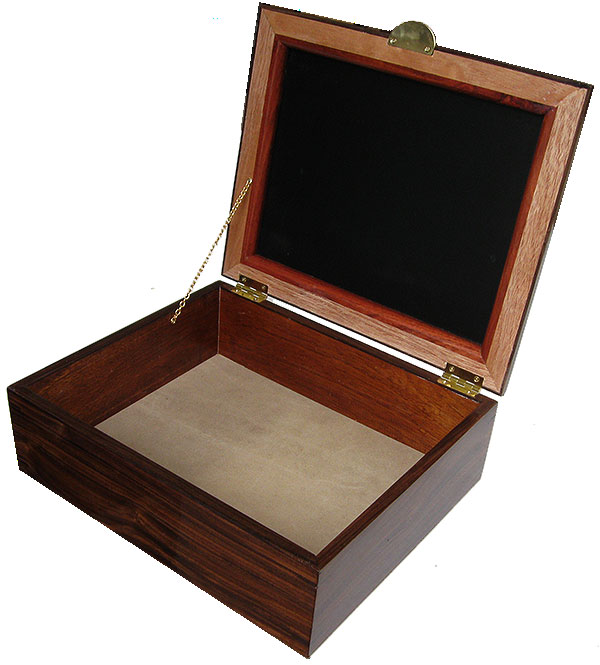 Handmade large wood box - Decorative large men's valet box, keepske box or document cox