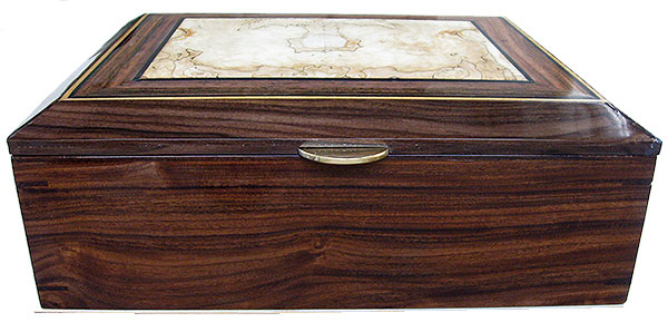 Santos rosewood box front - Handcrafted large wood box, decorative men's valet box