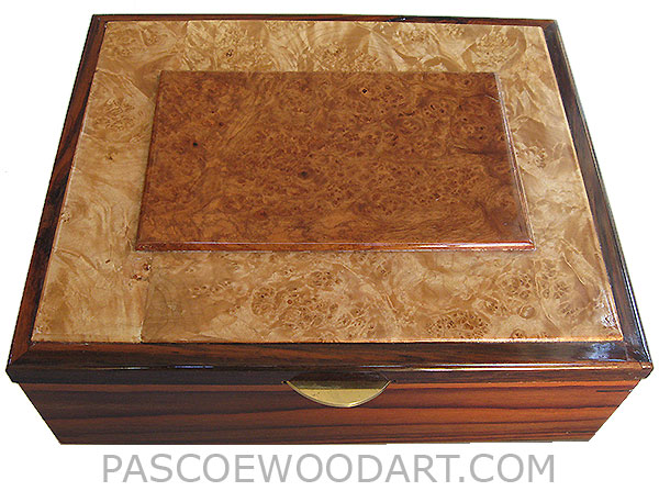 Handcrafted large wood box - Decorative wood large men's valet box or keepsake box made of Santos rosewood with amboyna burl center piece framed in maple burl and rosewood top