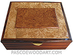 Handcrafted large wood box - Decorative wood large men's valet box or keepsake box made of Santos rosewood with amboyna burl framed in maple burl and rosewood top