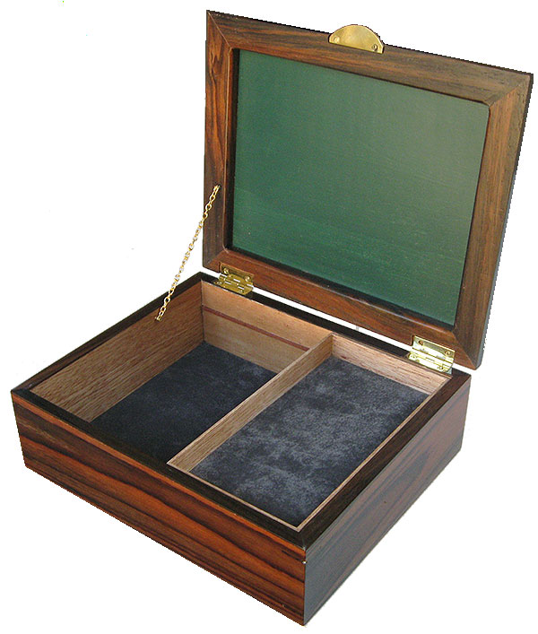 Handcrafted large wood box open view