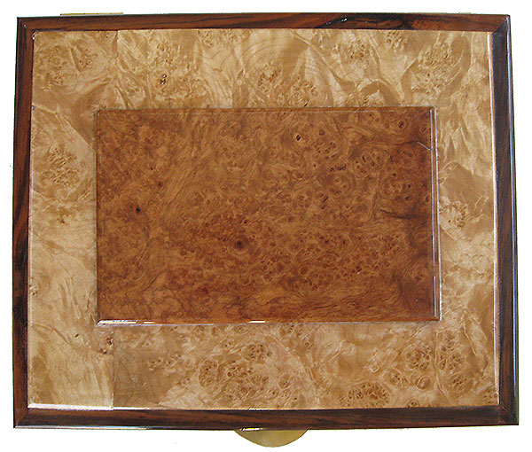 Amboyna burl center piece framed in maple burl and rosewood box top - Handcrafted large wood men's valet box or keepsake box