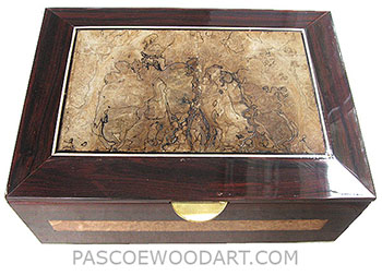 Handcrafted large cocobolo wood box- Decorative men's valet box, keepsake box with sliding tray - Cocobolo, spalted maple, maple burl