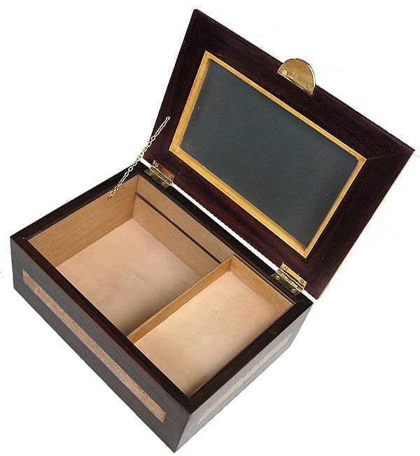 Handcrafted large wood men's valet box - open view