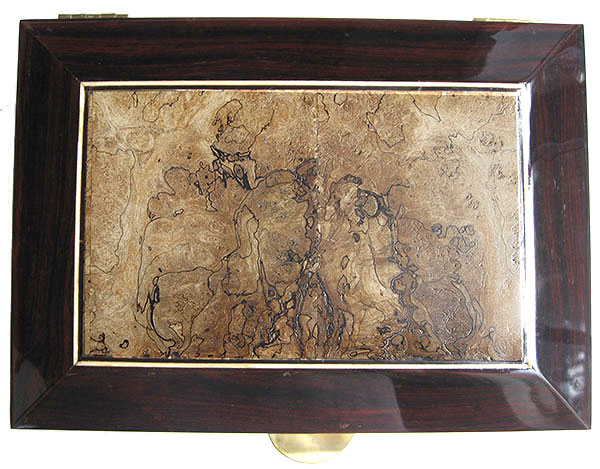 Spalted maple framed in cocobolo box top - Handcrafted decorative wood men's valet box, keepsake box