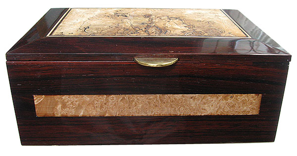 Cocobolo and maple burl box front - Handcrated large men's valet box, keepsake box