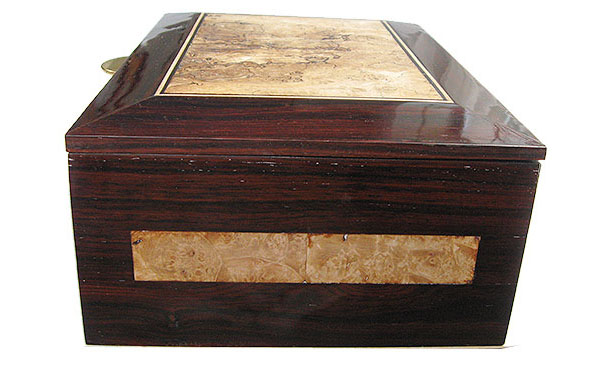 Cocobolo and maple burl box front - Handcrafted large wood men's valet box, keepsakebox