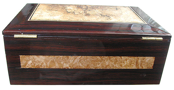 Cocobolo and maple burl box back - Handcrafted large wood men's valet box , keepsake box