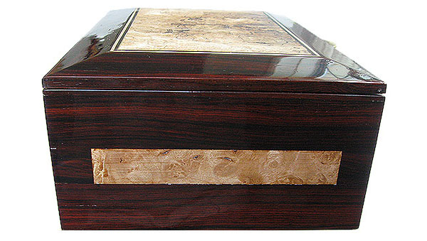 Cocobolo and maple burl bod end - Handcrafted large wood men's valet box, keepsake box