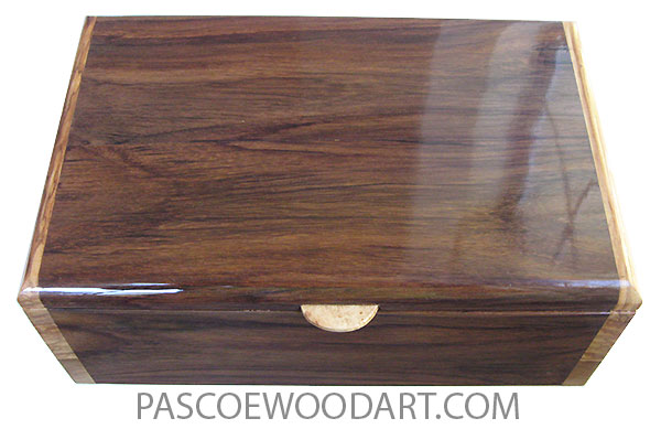 Handcrafted wood box - Decorative wood large mne's valet box or keepske box made of cocobolo and ceylon stinwood