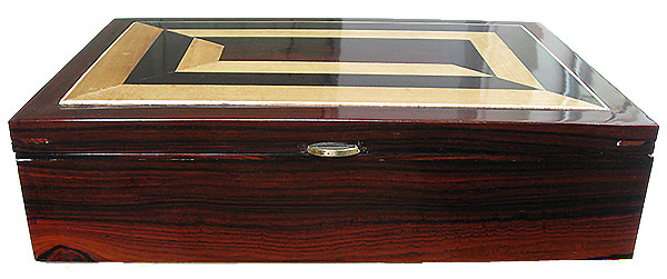 Cocobolo box front - Handcrafted wood men's valet box or keepsake box
