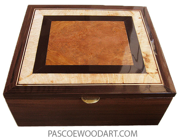 Handmade large wood box - Decorative lwood men's valet box or keepsake box with sliding tray made of Santos rosewood with  amboyna burl, African rosewood, maple mosaic top
