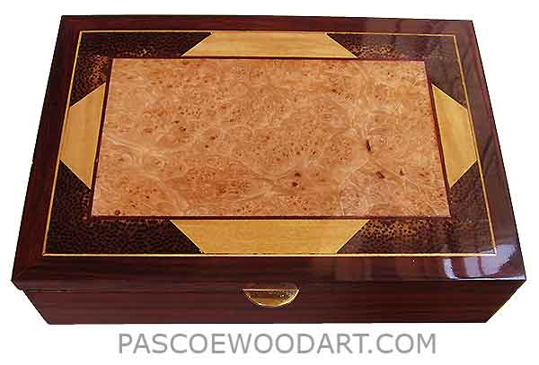 Handcrafted wood box - Men's valet box mad of colobolo with mosaic top of maple burl ceylon satinwood,black palm