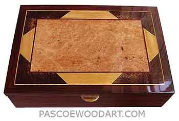 Handcrafted wood box - Decorative wood men's valet box, keepsake box made of cocobolo with amboyna burl center piece framed in Ceylon satinwood and Black Palm