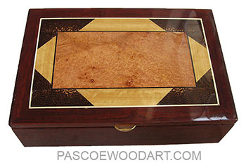 Handmade wood box - Men's valet box made of cocobolo with mosaic top of amboyna burl, Ceylon Satinwood, black palm