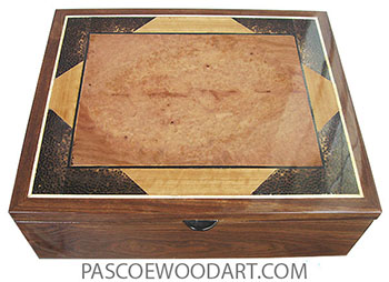 Handcrafted wood box - Decorative wood men's valet box made of chechen with inlaid top of amboyna burl, Ceylon satinwood, black palm