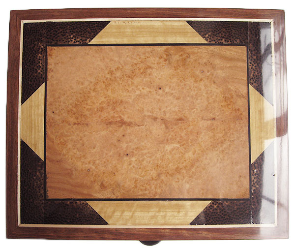 Amboyna burl and maple burl inlaid box top - Handmade decorative wood men's valet box made of cocobolo
