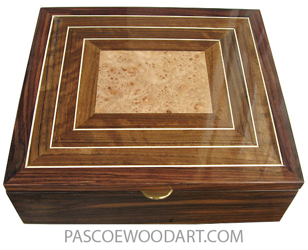 Handmade wood large box - Men's large valet box made of Indian rosewood with mosaic top of shedua with maple burl center and holly stringing