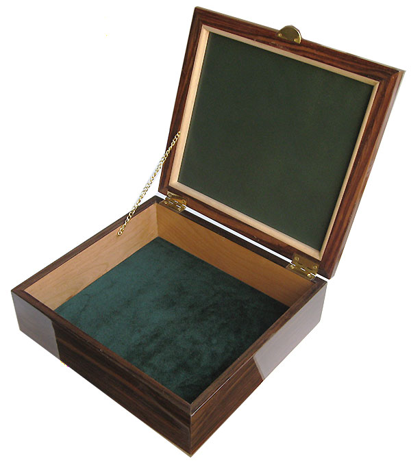 Handmade large wood box - Large men's valet box open view