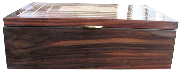 Indian rosewood box front - Handmade large wood men's valet box