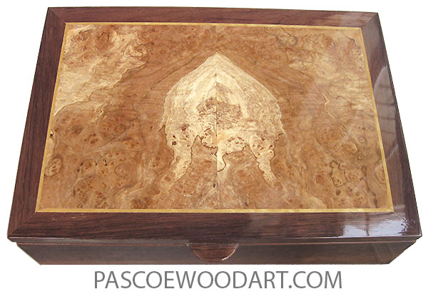 Handmade wood box - Men's valet box or keepsake box made of Honduras rosewood with spalted maple burl top