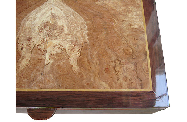 Spalted maple burl box top closeup - Handmade wood men's valet box