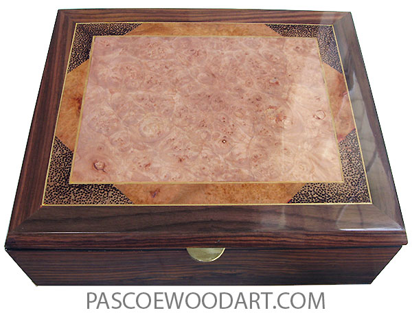 Handcrafted wood box - Men's valet box or keepsake box made of East Indian rosewood with maple burl center framed in amboyna burl and black palm with Ceylon satinwood stringing top