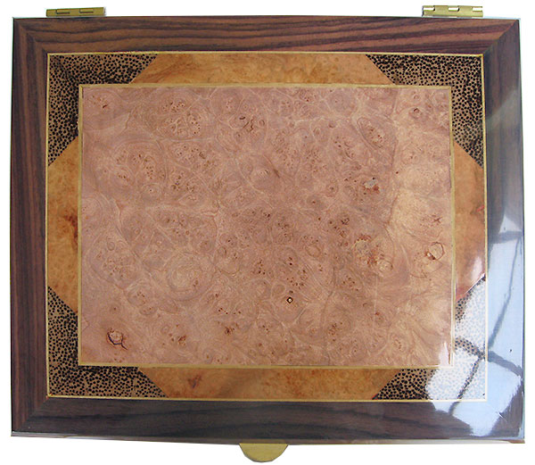 Maple burl center framed in amboyna burl , black palm and East Indian rosewood with Ceylon satinwood stringing box top - Handcrafted wood large men's valet box or keepsake box