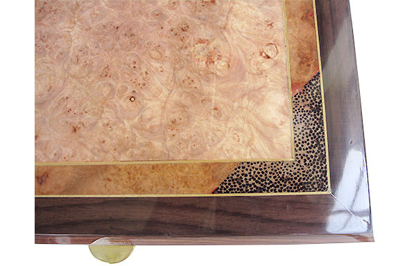 Maple burl center framed in amboyna burl, black palm and East Indian rosewood box top - Handcrafted men's valet box - close up
