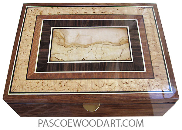 Handcrafted wood box - Large men's valet box or document box made of Hawaiian koa with spalted maple center framed in macassar ebony, lacewood, masur birch with holly and ebony stringings