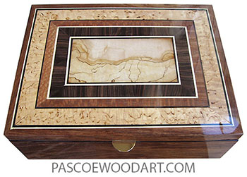 Handcrafted wood box - Large men's valet box or document box made of Hawaiian koa with spalted maple center framed in macassar ebony, lacewood, masur birch box top
