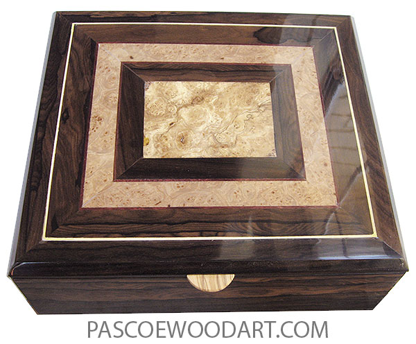 Handcrafted wood box - Decorative wood men's large valet box made of ziricote with spalted maple burl, maple burl an ziricote mosaic top