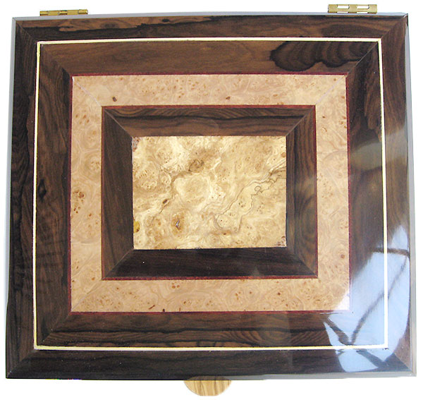 Spalted maple burl center framed in maple burl and ziricote wiwth holly and bloodwood stringing box top - Handcrafted large men's valet box