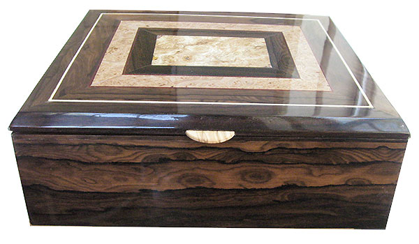 Ziricote box front - Handcrafted large wood box