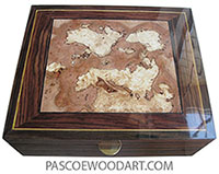 Handcrafted wood box - Men's valet box made of East Indian rosewood with variegated spalted maple burl center top