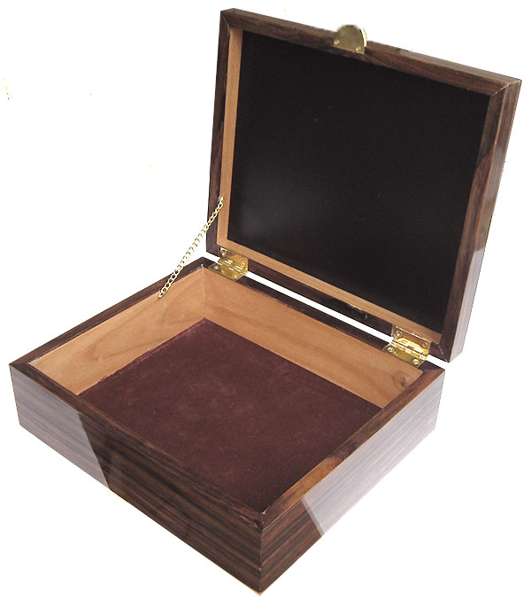 Handcrafted wood box - open view