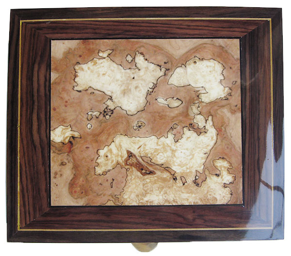 Variegated spalted maple burl center box top - Handcraftd wood men's valet box