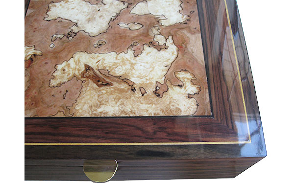 Variegated spalted maple burl center framed in East Indian rosewood with Ceylon satinwood springint box top - Handcrafted wood box