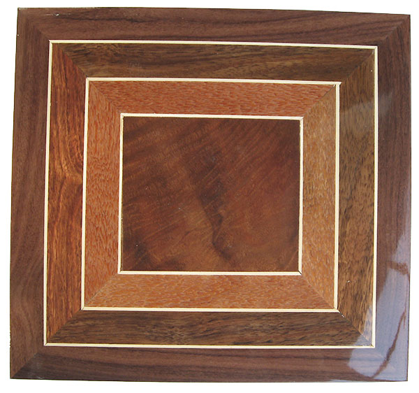 Box pattern top of crotch walnut, lacewood, holly, Hawaiian Koa - Handcrafted men's valet box