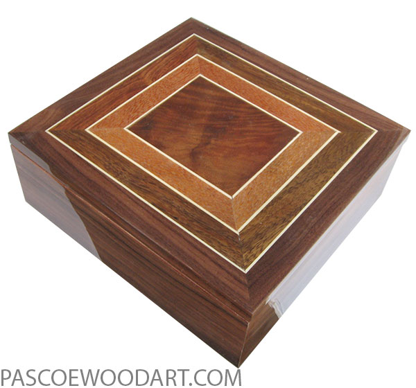 Handcrafted wood box - Mens valet box made of bolivian rosewood with pattern top of crotch walnut, lacewood, holly , Hawaiian Koa