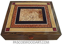 Handcrafted large wood box - Men's valet box, document box made of Indian rosewood with mosaic top of spalted maple burl, African blackwood, lacewood, Ceylon satinwood, bloodwood.