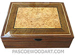 Handcrafted large wood box - Decorative wood large men's valet box or keepsake box made of Claro walnut, shedua, maple burl