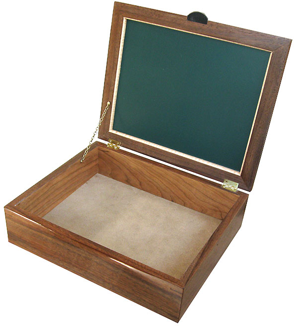 Handcrafted large wood box - Decorative wood large men's valet box - open view