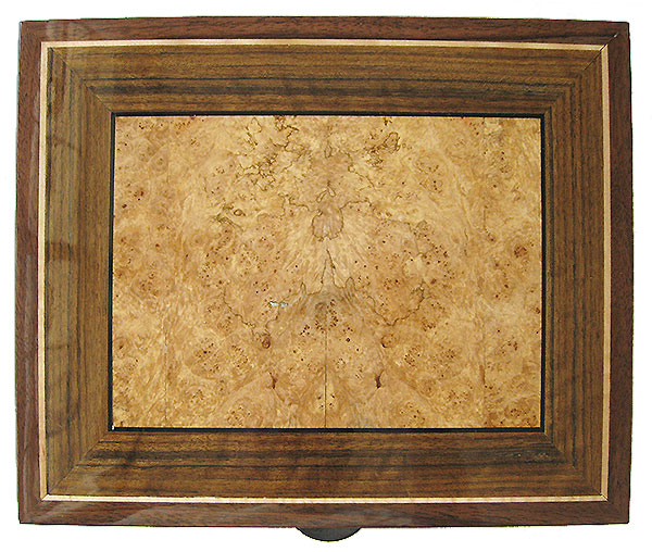 Maple burl inlaid box top - Handcrafted decorative large men's valet box made of Claro walnut, shedua, maple burl
