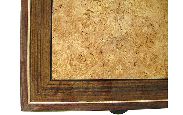 Handcrafted wood box top close up - Maple burl, Shedua inlaid top