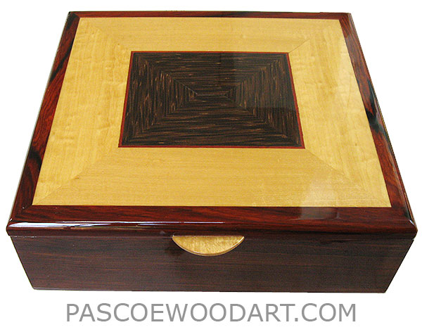 Large handmade wood box - Men's valet box made of cocobolo with Ceylon satinwood and black palm framed top