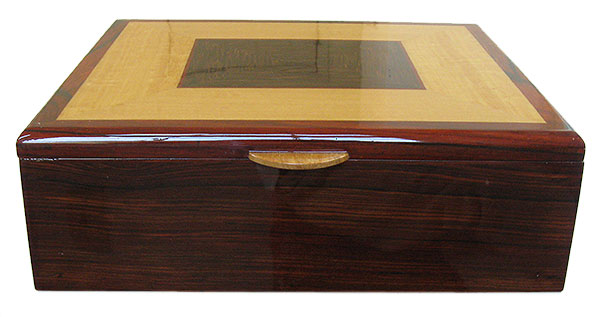 Cocobolo box front - Handmade large men's valet box, document box