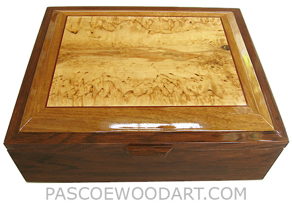 Handcrafted Large Wood Box - Decorative Wood Large Men's Valet or Document Box - Honduras Rosewood, Masur Birch,